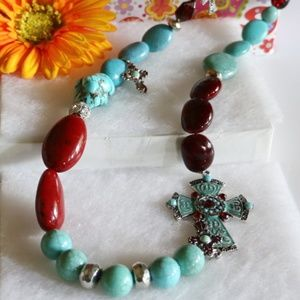 Long Boho Cross Necklace Stone Bead Silvertone